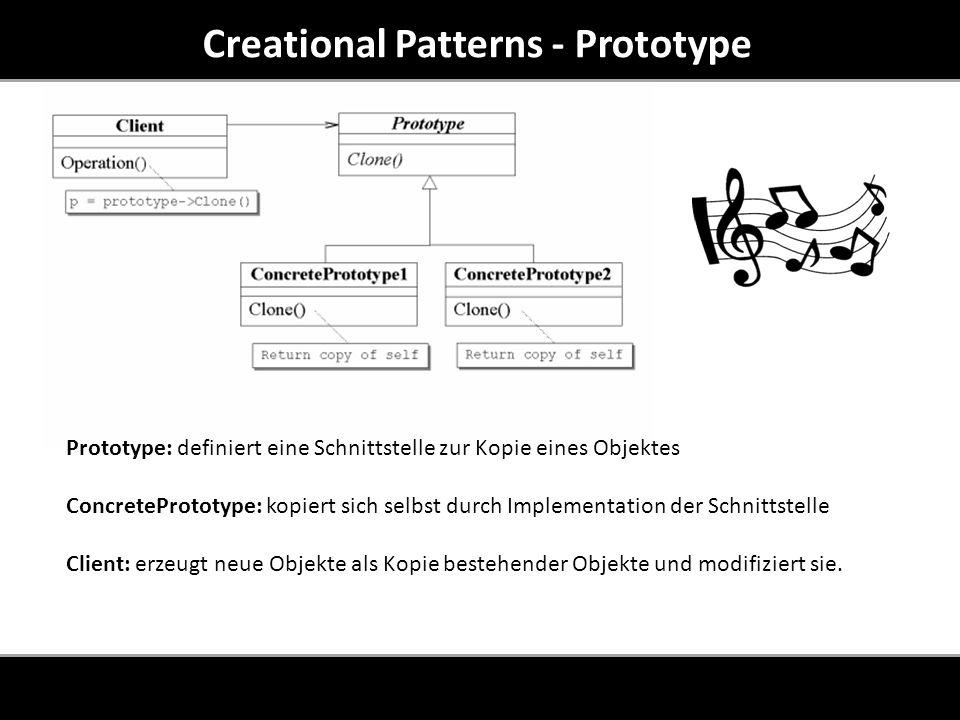 Creational Patterns - Prototype Prototype: definiert eine Schnittstelle zur Kopie eines Objektes ConcretePrototype: kopiert sich selbst durch Implementation der Schnittstelle Client: erzeugt neue Objekte als Kopie bestehender Objekte und modifiziert sie.