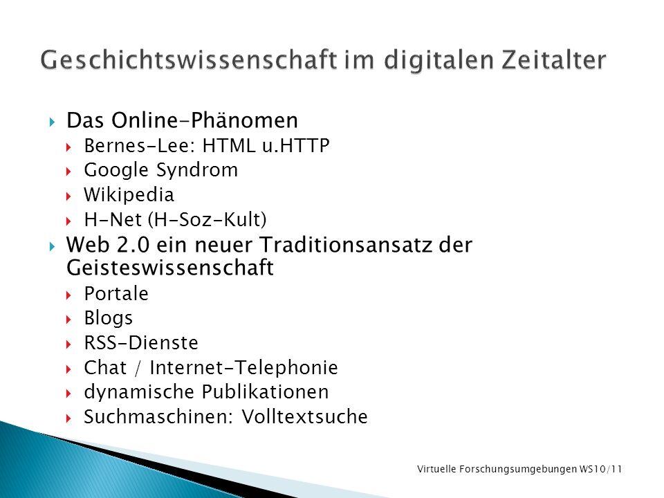 Das Online-Phänomen Bernes-Lee: HTML u.HTTP Google Syndrom Wikipedia H-Net (H-Soz-Kult) Web 2.0 ein neuer Traditionsansatz der Geisteswissenschaft Por