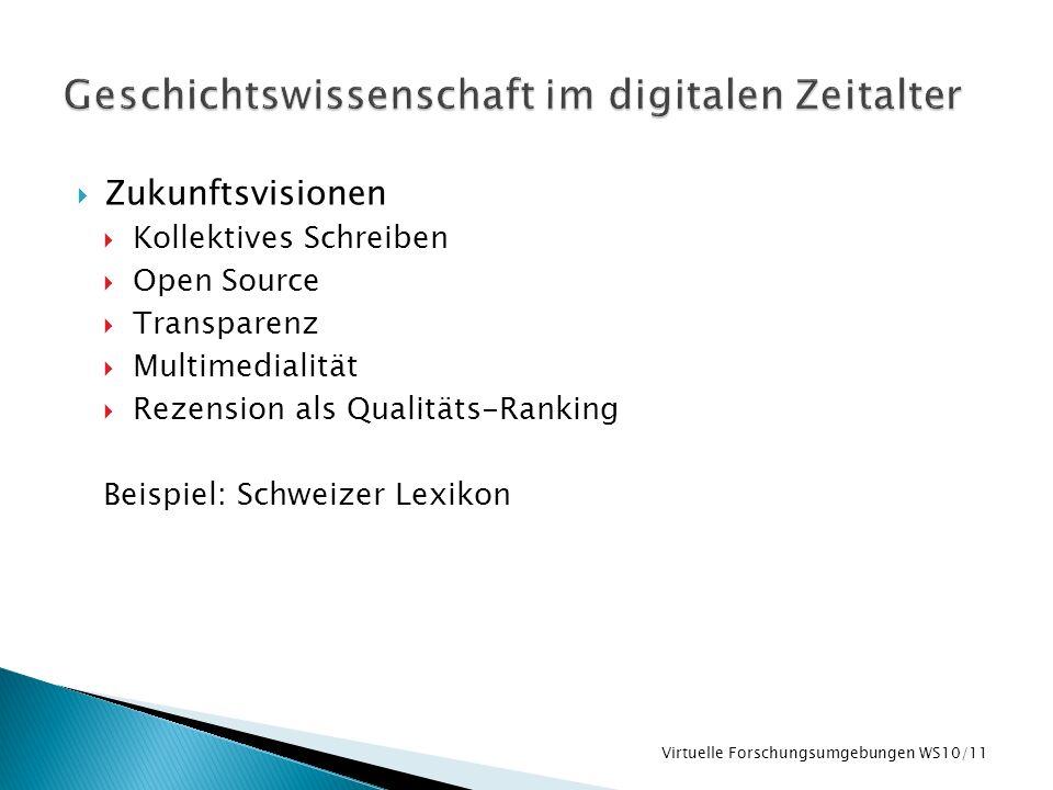 Zukunftsvisionen Kollektives Schreiben Open Source Transparenz Multimedialität Rezension als Qualitäts-Ranking Beispiel: Schweizer Lexikon Virtuelle F