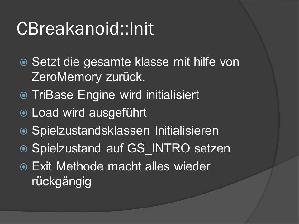 CBreakanoid::Init Setzt die gesamte klasse mit hilfe von ZeroMemory zurück. TriBase Engine wird initialisiert Load wird ausgeführt Spielzustandsklasse