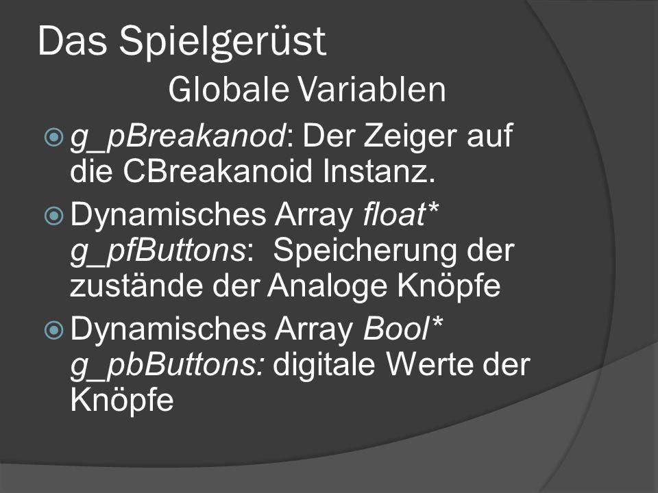 Das Spielgerüst Globale Variablen g_pBreakanod: Der Zeiger auf die CBreakanoid Instanz. Dynamisches Array float* g_pfButtons: Speicherung der zustände