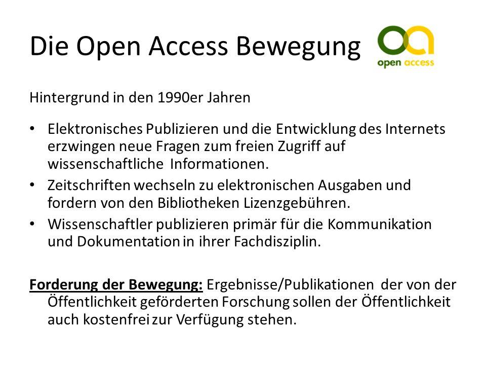 Die Open Access Bewegung Hintergrund in den 1990er Jahren Elektronisches Publizieren und die Entwicklung des Internets erzwingen neue Fragen zum freien Zugriff auf wissenschaftliche Informationen.