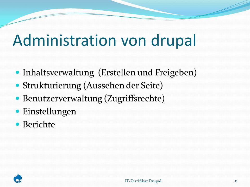 Administration von drupal Inhaltsverwaltung (Erstellen und Freigeben) Strukturierung (Aussehen der Seite) Benutzerverwaltung (Zugriffsrechte) Einstellungen Berichte 11 IT-Zertifikat Drupal