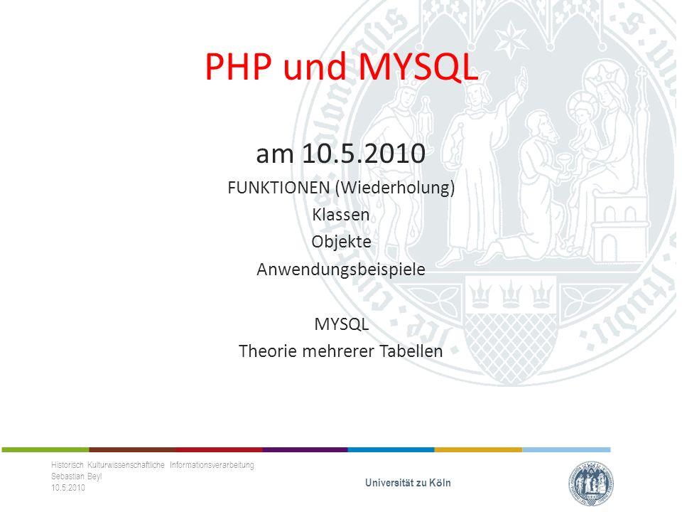 MYSQL-NORMALISIEREN Historisch Kulturwissenschaftliche Informationsverarbeitung Sebastian Beyl 10.5.2010 Universit ä t zu K ö ln Erste Normalform (1NF) - Jedes Attribut der Relation muss einen atomaren Wertebereich haben.