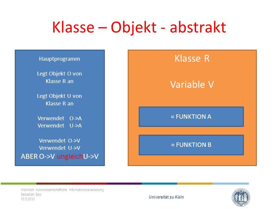 Klasse R Variable V Klasse – Objekt - abstrakt Historisch Kulturwissenschaftliche Informationsverarbeitung Sebastian Beyl 10.5.2010 Universit ä t zu K ö ln = FUNKTION A = FUNKTION B Hauptprogramm Legt Objekt O von Klasse R an Legt Objekt U von Klasse R an Verwendet O->A Verwendet U->A Verwendet O->V Verwendet U->V ABER O->V ungleichU->V