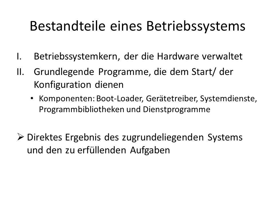 Bestandteile eines Betriebssystems I.Betriebssystemkern, der die Hardware verwaltet II.Grundlegende Programme, die dem Start/ der Konfiguration dienen Komponenten: Boot-Loader, Gerätetreiber, Systemdienste, Programmbibliotheken und Dienstprogramme Direktes Ergebnis des zugrundeliegenden Systems und den zu erfüllenden Aufgaben