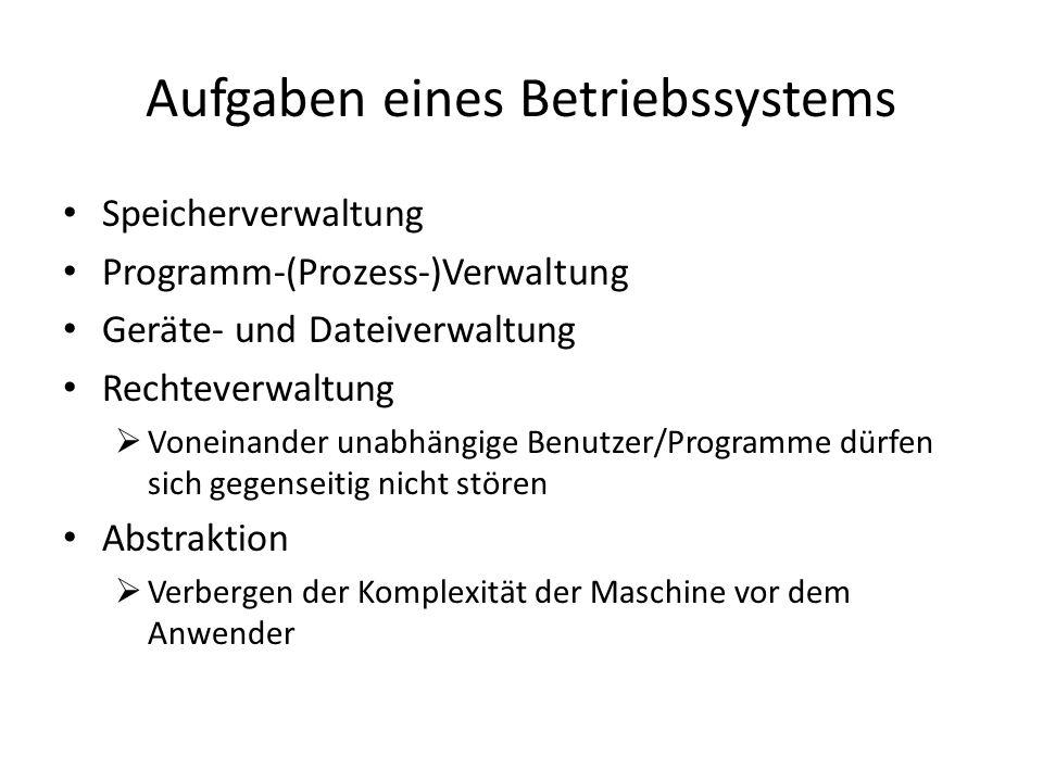 Aufgaben eines Betriebssystems Speicherverwaltung Programm-(Prozess-)Verwaltung Geräte- und Dateiverwaltung Rechteverwaltung Voneinander unabhängige Benutzer/Programme dürfen sich gegenseitig nicht stören Abstraktion Verbergen der Komplexität der Maschine vor dem Anwender