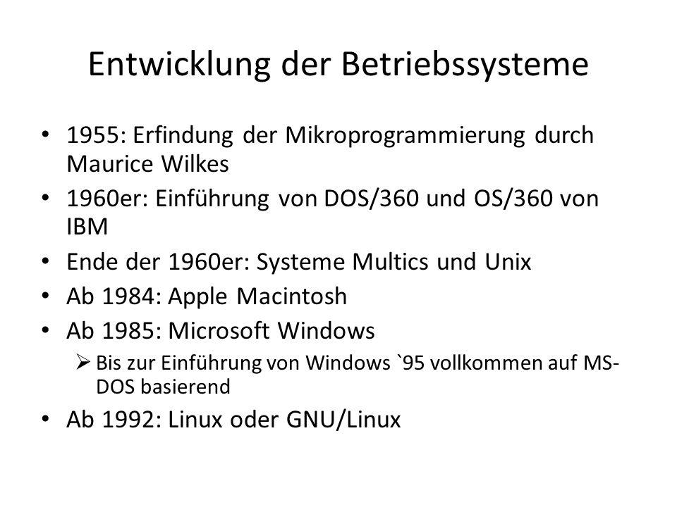 Entwicklung der Betriebssysteme 1955: Erfindung der Mikroprogrammierung durch Maurice Wilkes 1960er: Einführung von DOS/360 und OS/360 von IBM Ende der 1960er: Systeme Multics und Unix Ab 1984: Apple Macintosh Ab 1985: Microsoft Windows Bis zur Einführung von Windows `95 vollkommen auf MS- DOS basierend Ab 1992: Linux oder GNU/Linux