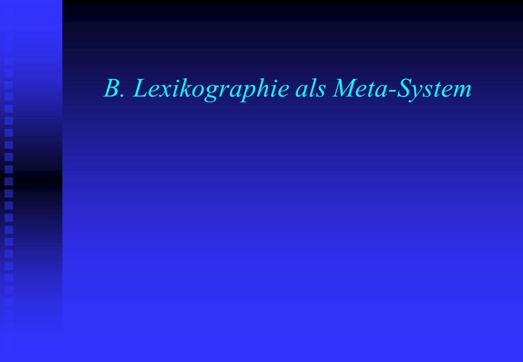 B. Lexikographie als Meta-System