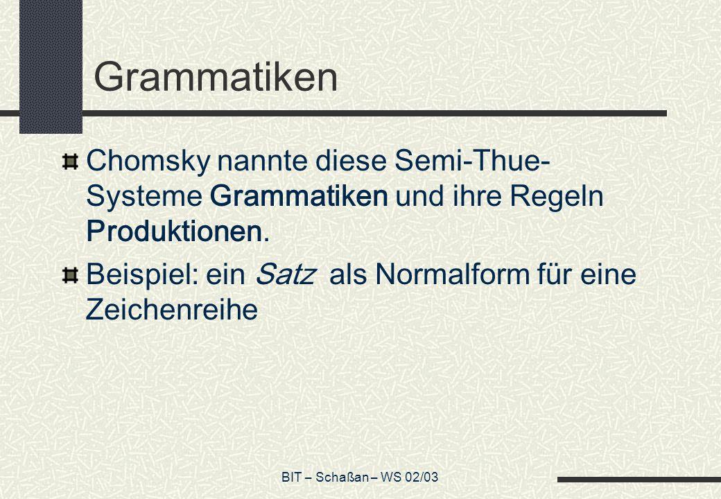 BIT – Schaßan – WS 02/03 Grammatiken Chomsky nannte diese Semi-Thue- Systeme Grammatiken und ihre Regeln Produktionen. Beispiel: ein Satz als Normalfo
