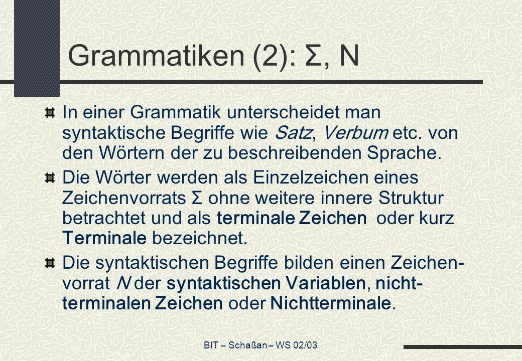 BIT – Schaßan – WS 02/03 Grammatiken (2): Σ, N In einer Grammatik unterscheidet man syntaktische Begriffe wie Satz, Verbum etc.