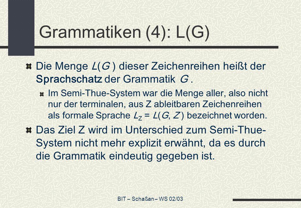 BIT – Schaßan – WS 02/03 Grammatiken (4): L(G) Die Menge L(G ) dieser Zeichenreihen heißt der Sprachschatz der Grammatik G. Im Semi-Thue-System war di