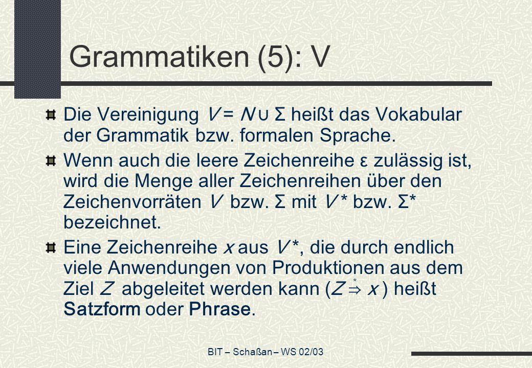 BIT – Schaßan – WS 02/03 Grammatiken (5): V Die Vereinigung V = N Σ heißt das Vokabular der Grammatik bzw. formalen Sprache. Wenn auch die leere Zeich