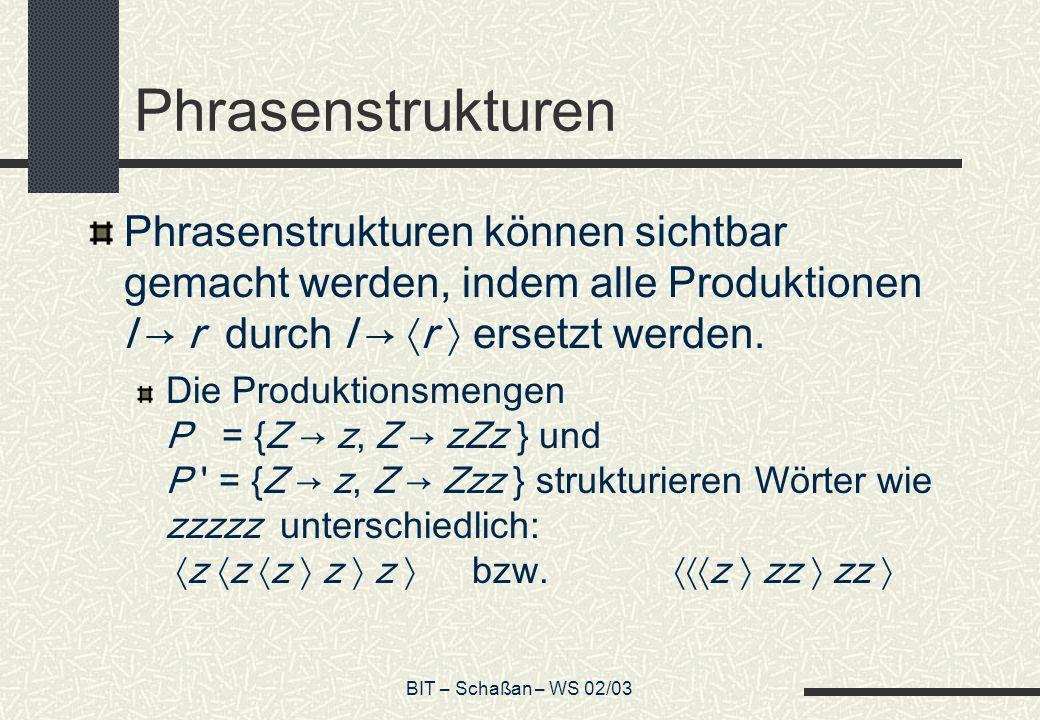 BIT – Schaßan – WS 02/03 Phrasenstrukturen Phrasenstrukturen können sichtbar gemacht werden, indem alle Produktionen l r durch l r ersetzt werden.