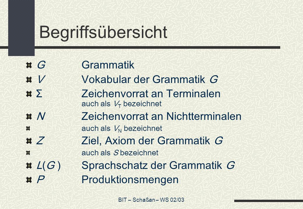 BIT – Schaßan – WS 02/03 Begriffsübersicht GGrammatik VVokabular der Grammatik G ΣZeichenvorrat an Terminalen auch als V T bezeichnet NZeichenvorrat an Nichtterminalen auch als V N bezeichnet ZZiel, Axiom der Grammatik G auch als S bezeichnet L(G )Sprachschatz der Grammatik G PProduktionsmengen