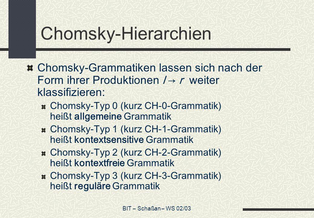 BIT – Schaßan – WS 02/03 Chomsky-Hierarchien Chomsky-Grammatiken lassen sich nach der Form ihrer Produktionen l r weiter klassifizieren: Chomsky-Typ 0 (kurz CH-0-Grammatik) heißt allgemeine Grammatik Chomsky-Typ 1 (kurz CH-1-Grammatik) heißt kontextsensitive Grammatik Chomsky-Typ 2 (kurz CH-2-Grammatik) heißt kontextfreie Grammatik Chomsky-Typ 3 (kurz CH-3-Grammatik) heißt reguläre Grammatik