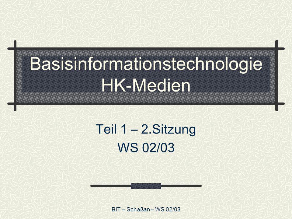 BIT – Schaßan – WS 02/03 Basisinformationstechnologie HK-Medien Teil 1 – 2.Sitzung WS 02/03