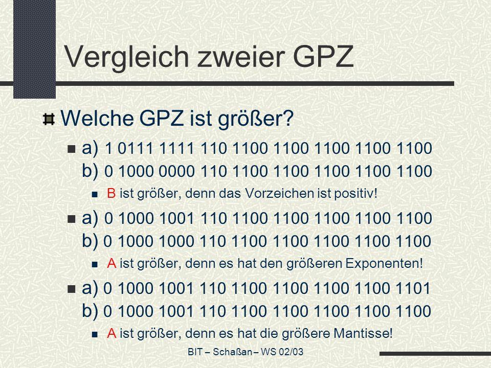 BIT – Schaßan – WS 02/03 Vergleich zweier GPZ Welche GPZ ist größer.