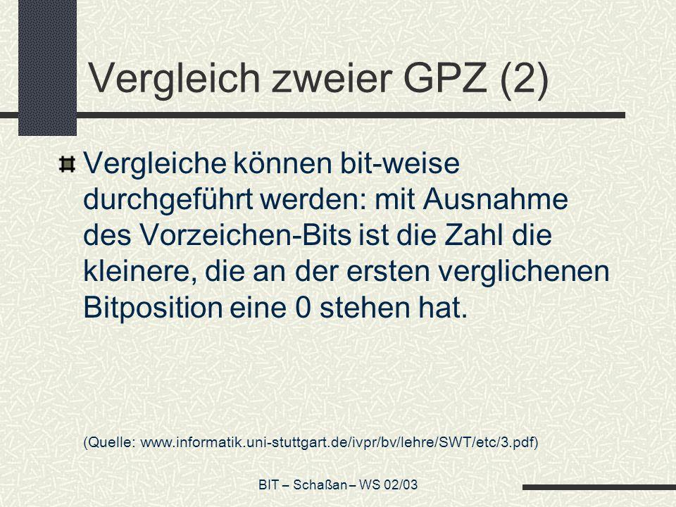 BIT – Schaßan – WS 02/03 Vergleich zweier GPZ (2) Vergleiche können bit-weise durchgeführt werden: mit Ausnahme des Vorzeichen-Bits ist die Zahl die kleinere, die an der ersten verglichenen Bitposition eine 0 stehen hat.