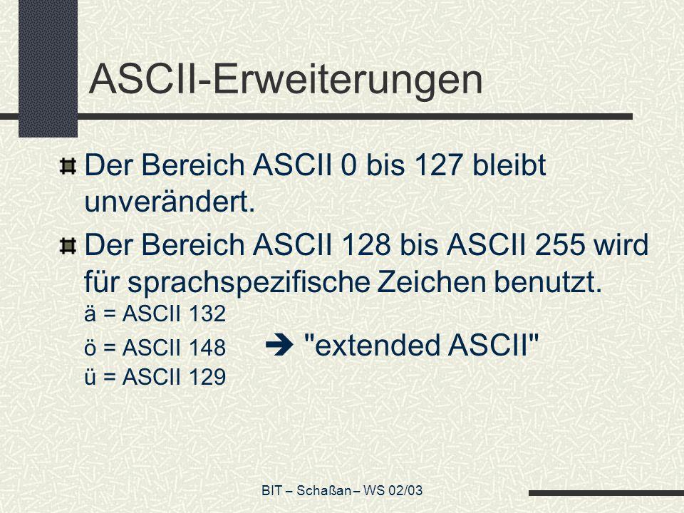 BIT – Schaßan – WS 02/03 ASCII-Erweiterungen Der Bereich ASCII 0 bis 127 bleibt unverändert.