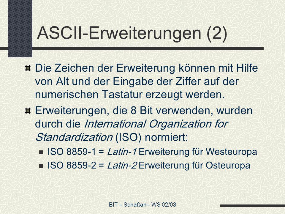 BIT – Schaßan – WS 02/03 ASCII-Erweiterungen (2) Die Zeichen der Erweiterung können mit Hilfe von Alt und der Eingabe der Ziffer auf der numerischen Tastatur erzeugt werden.