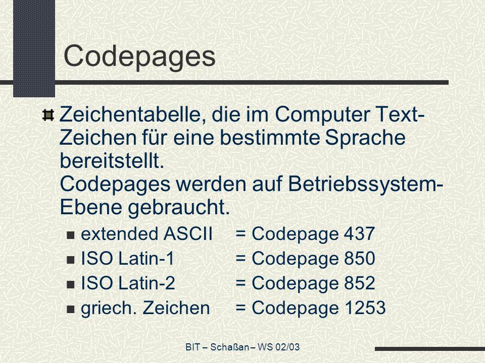BIT – Schaßan – WS 02/03 Codepages Zeichentabelle, die im Computer Text- Zeichen für eine bestimmte Sprache bereitstellt.