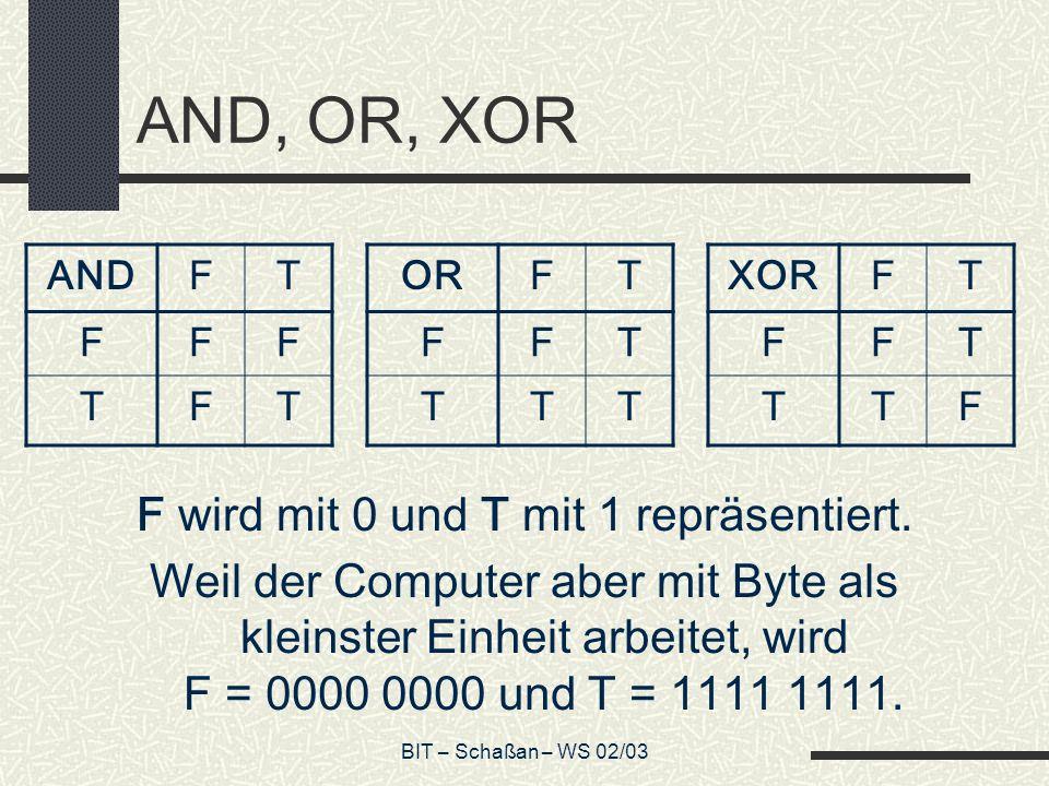BIT – Schaßan – WS 02/03 AND, OR, XOR F wird mit 0 und T mit 1 repräsentiert.