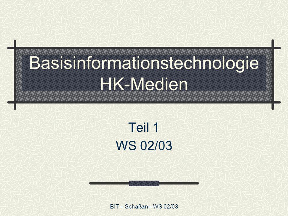 BIT – Schaßan – WS 02/03 Seminarplan WS Sitzungen 1-2:Grundlagen Sitzungen 3-5:Rechnertechnologie Sitzungen 6-8:Betriebssysteme Sitzungen 9-12:Programmiersprachen Sitzungen 13-16:Formale Sprachen