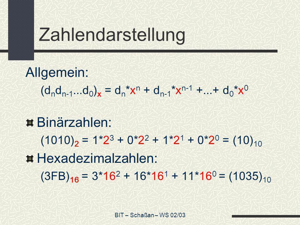 BIT – Schaßan – WS 02/03 Zahlendarstellung Allgemein: (d n d n-1...d 0 ) x = d n *x n + d n-1 *x n-1 +...+ d 0 *x 0 Binärzahlen: (1010) 2 = 1*2 3 + 0*