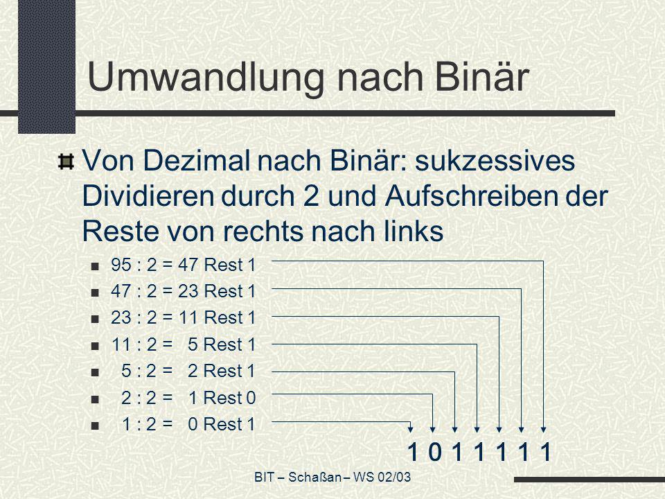 BIT – Schaßan – WS 02/03 Umwandlung nach Binär Von Dezimal nach Binär: sukzessives Dividieren durch 2 und Aufschreiben der Reste von rechts nach links