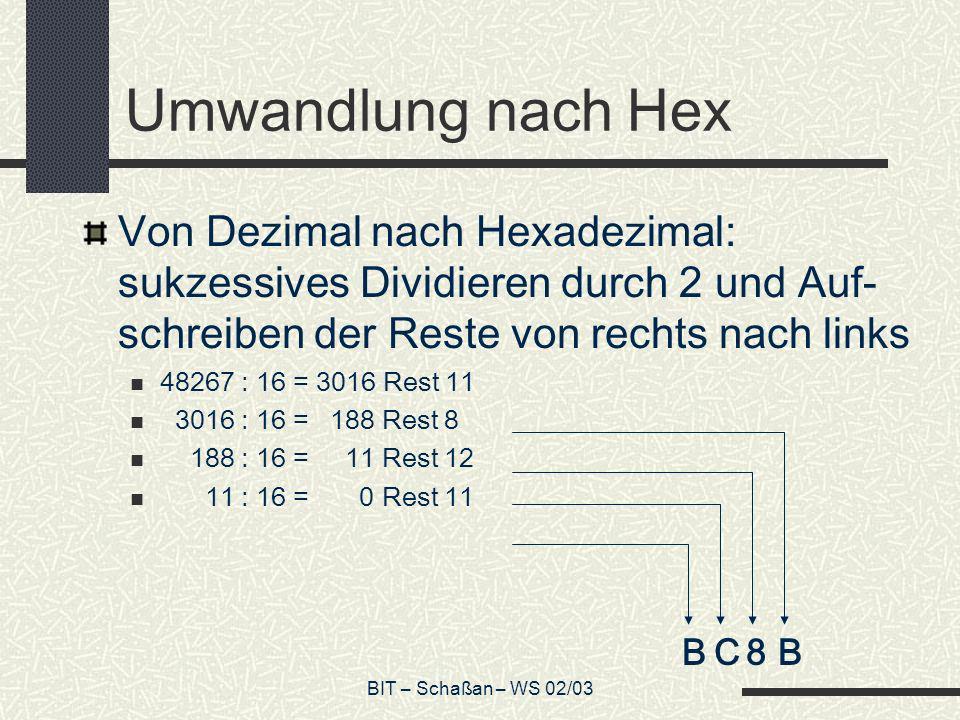 BIT – Schaßan – WS 02/03 Umwandlung nach Hex Von Dezimal nach Hexadezimal: sukzessives Dividieren durch 2 und Auf- schreiben der Reste von rechts nach