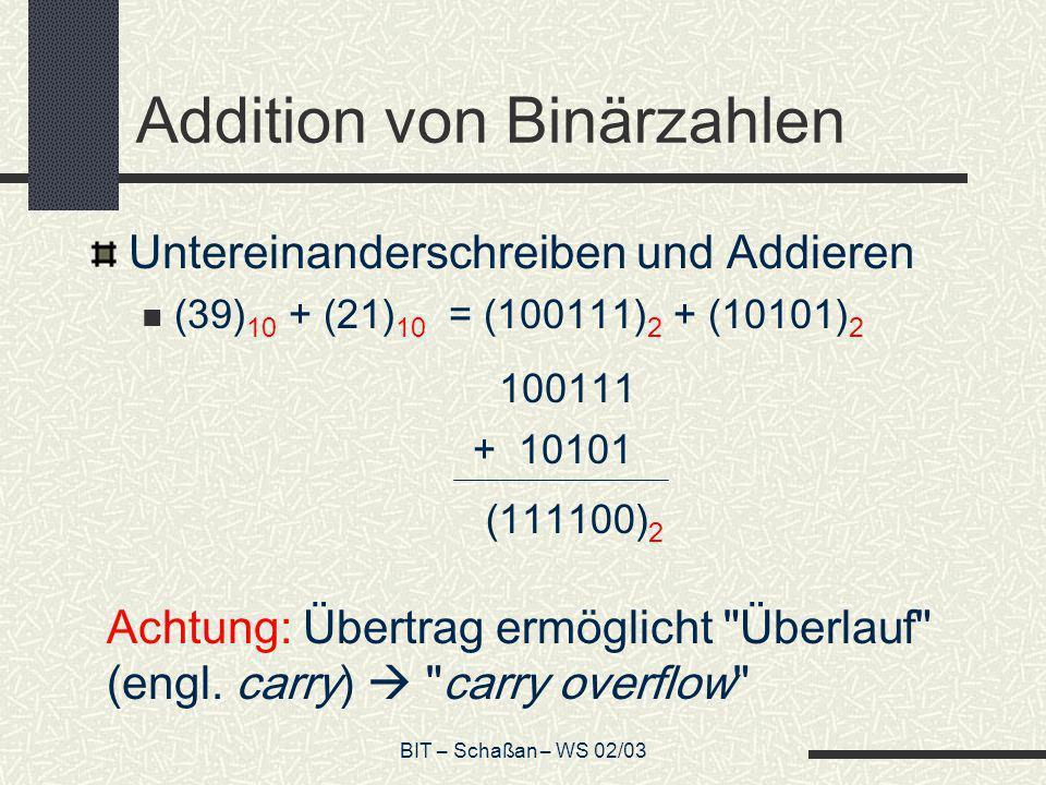 BIT – Schaßan – WS 02/03 Addition von Binärzahlen Untereinanderschreiben und Addieren (39) 10 + (21) 10 = (100111) 2 + (10101) 2 100111 + 10101 (11110