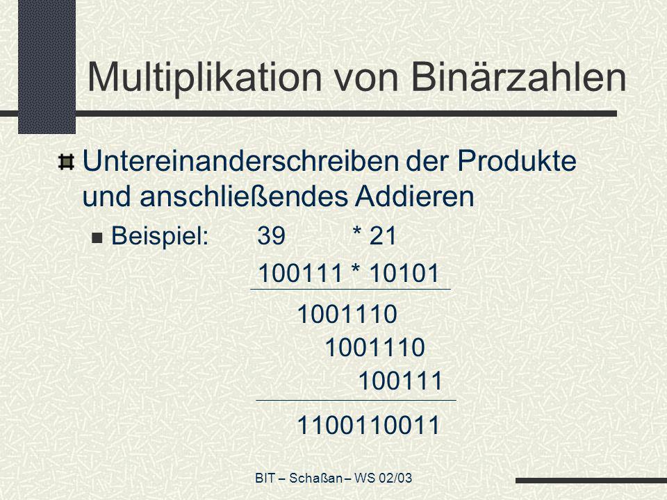 BIT – Schaßan – WS 02/03 Multiplikation von Binärzahlen Untereinanderschreiben der Produkte und anschließendes Addieren Beispiel:39 * 21 100111 * 1010