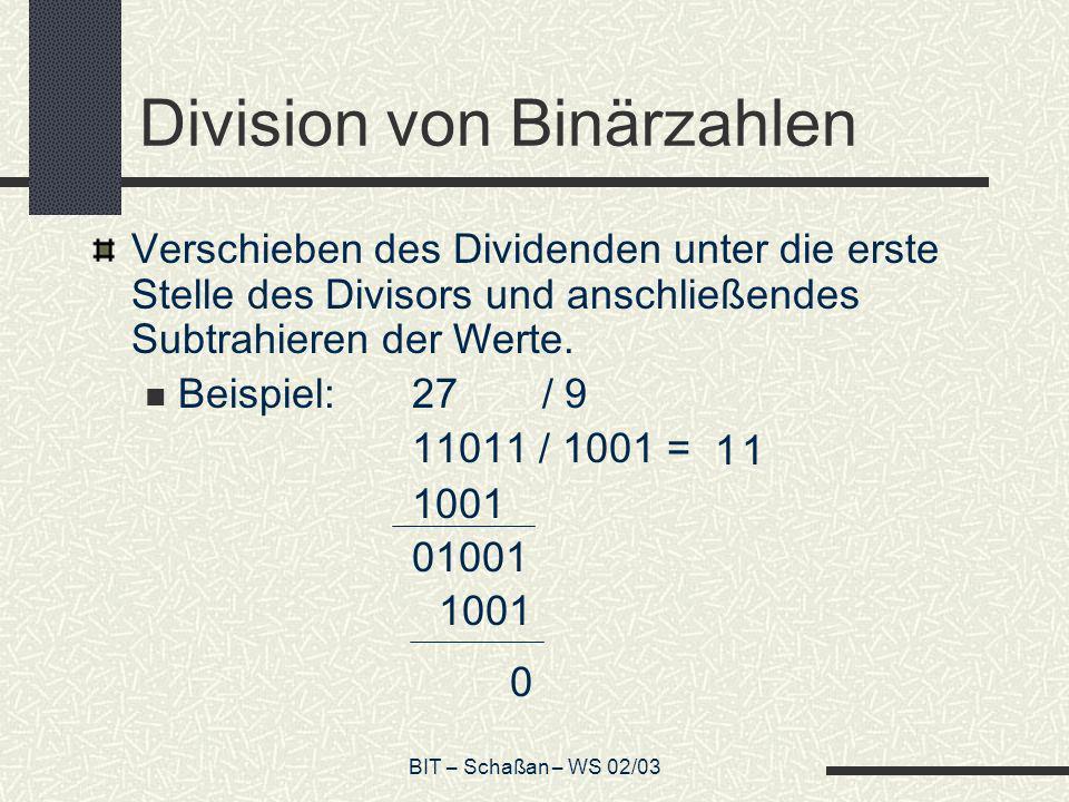 BIT – Schaßan – WS 02/03 Division von Binärzahlen Verschieben des Dividenden unter die erste Stelle des Divisors und anschließendes Subtrahieren der W
