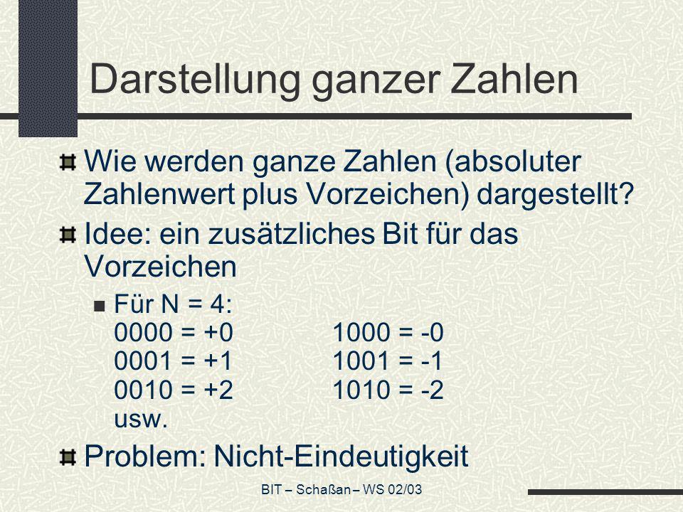 BIT – Schaßan – WS 02/03 Darstellung ganzer Zahlen Wie werden ganze Zahlen (absoluter Zahlenwert plus Vorzeichen) dargestellt? Idee: ein zusätzliches