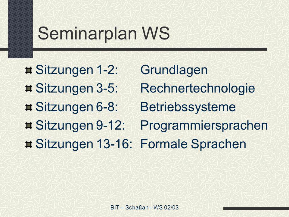 BIT – Schaßan – WS 02/03 Seminarplan WS Sitzungen 1-2:Grundlagen Sitzungen 3-5:Rechnertechnologie Sitzungen 6-8:Betriebssysteme Sitzungen 9-12:Program