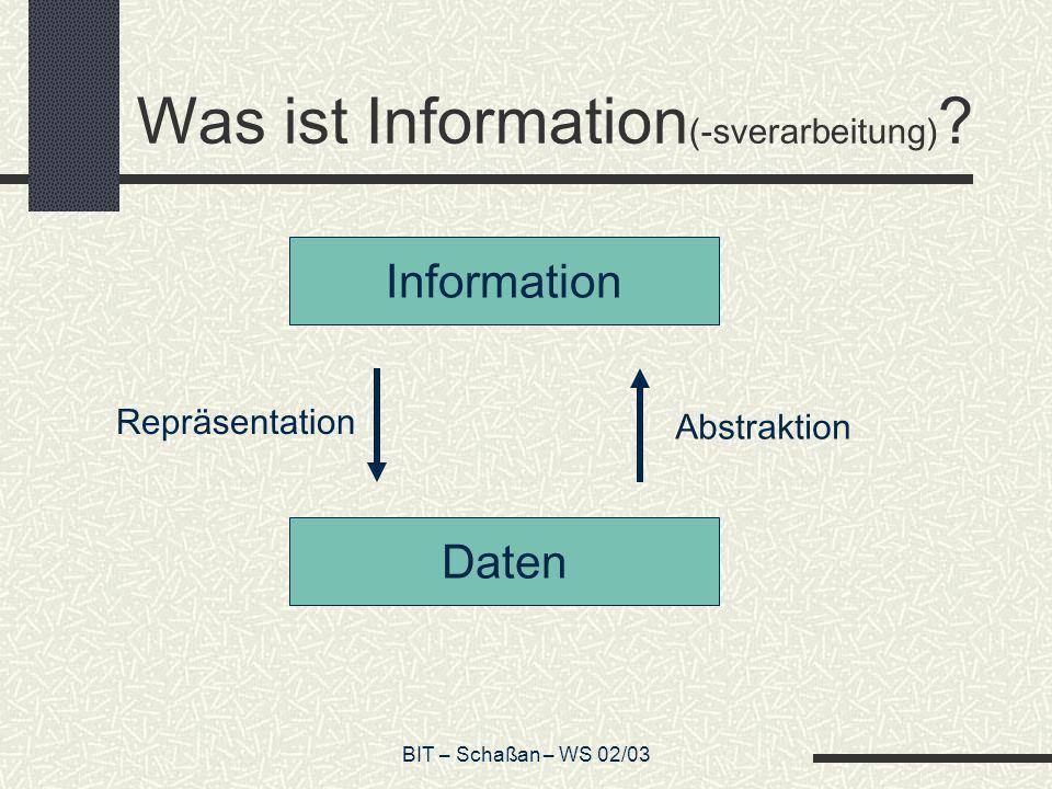 BIT – Schaßan – WS 02/03 Bits und Bytes Bit: kleinstmögliche Informationseinheit ja/nein, wahr/falsch, ein/aus Binärer Code: 0/1 0 = ungeladen0 Voltunmagnetisiert 1 = geladen5 Voltmagnetisiert Gruppierung: 8 Bits = 1 Byte 4 Bits = Halb-Byte / Nibble (Hex-Zahlen) 2 Bytes = Wort (je nach Rechner unterschiedlich)