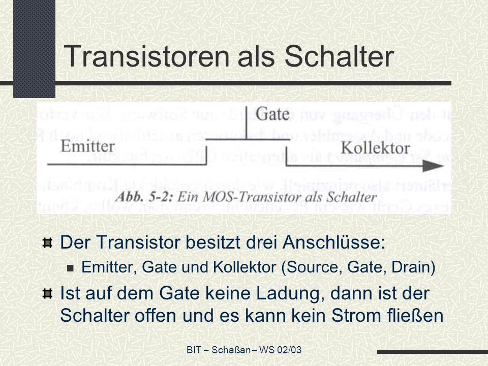BIT – Schaßan – WS 02/03 Transistoren als Schalter Der Transistor besitzt drei Anschlüsse: Emitter, Gate und Kollektor (Source, Gate, Drain) Ist auf d