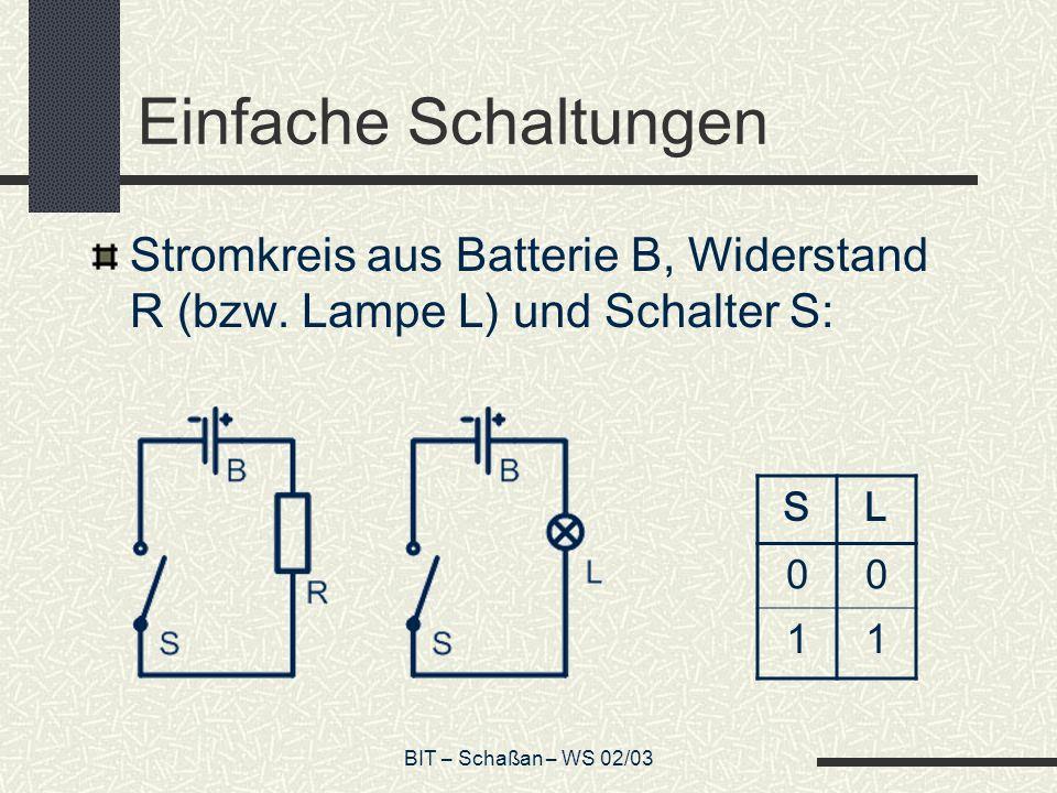 BIT – Schaßan – WS 02/03 Serienschaltung Ersetzt man den Schalter S durch S 1 und S 2, erhält man folgendes mögliche Schaltbild: Und folgende Wertetabelle: S1S1 S2S2 L 000 010 100 111