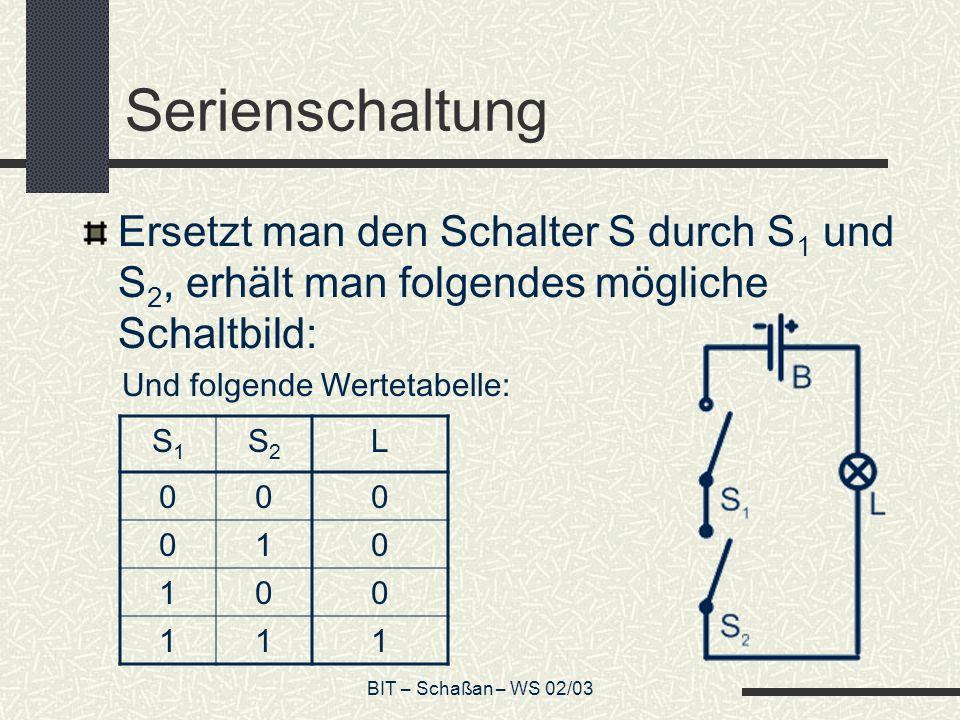 BIT – Schaßan – WS 02/03 Parallelschaltung Eine zweite mögliche Schaltung mit den Schaltern S 1 und S 2 ergibt: Und folgende Wertetabelle: S1S1 S2S2 L 000 011 101 111