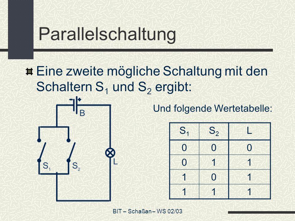BIT – Schaßan – WS 02/03 Parallelschaltung Eine zweite mögliche Schaltung mit den Schaltern S 1 und S 2 ergibt: Und folgende Wertetabelle: S1S1 S2S2 L