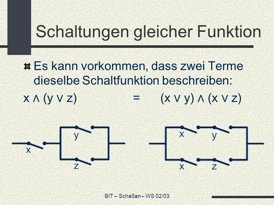 BIT – Schaßan – WS 02/03 Wechselschaltung Eine Schaltung, die nicht durch eine SP-Schaltung zu realisieren ist, ist die Wechselschaltung.