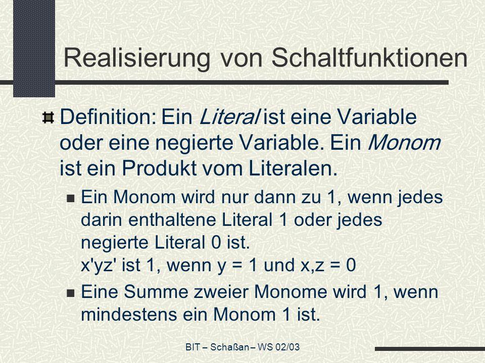 BIT – Schaßan – WS 02/03 Realisierung von Schaltfunktionen Definition: Ein Literal ist eine Variable oder eine negierte Variable. Ein Monom ist ein Pr