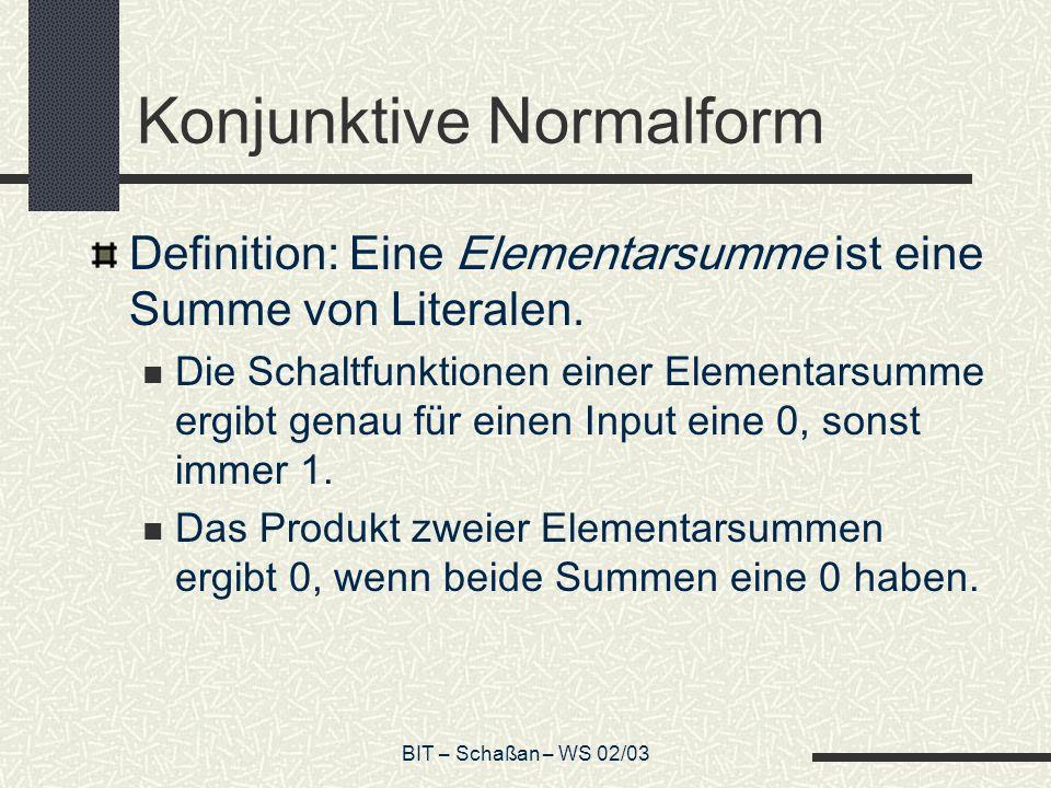 BIT – Schaßan – WS 02/03 Konjunktive Normalform Definition: Eine Elementarsumme ist eine Summe von Literalen. Die Schaltfunktionen einer Elementarsumm