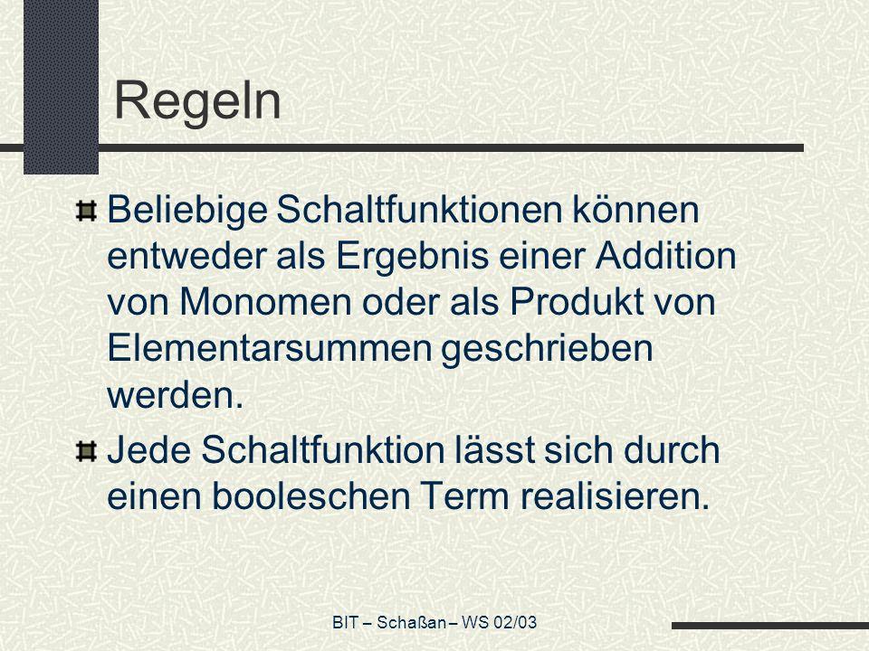 BIT – Schaßan – WS 02/03 Regeln Beliebige Schaltfunktionen können entweder als Ergebnis einer Addition von Monomen oder als Produkt von Elementarsumme