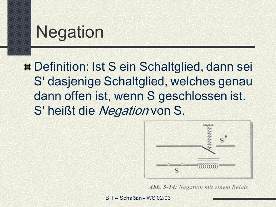 BIT – Schaßan – WS 02/03 Negation Definition: Ist S ein Schaltglied, dann sei S' dasjenige Schaltglied, welches genau dann offen ist, wenn S geschloss