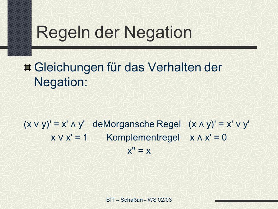 BIT – Schaßan – WS 02/03 Regeln der Negation Gleichungen für das Verhalten der Negation: (x y)' = x' y' deMorgansche Regel (x y)' = x' y' x x' = 1Komp