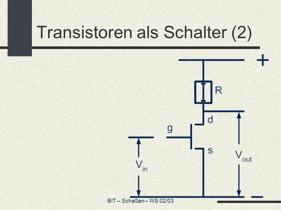 BIT – Schaßan – WS 02/03 Transistoren als Schalter (3) V ext = externe elektrische Spannung V in = Spannung zwischen g und s V out = Spannung zwischen s und d V R = V ext – V out komplementär V in V out 0V ext 0 V in V out 01 10 V in VRVR 00 11
