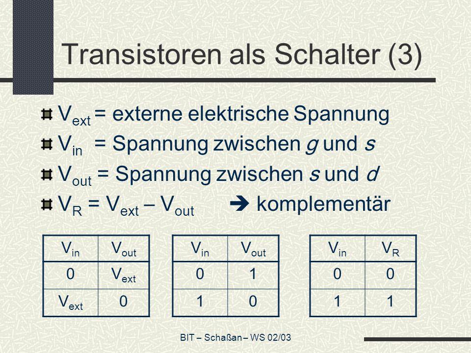 BIT – Schaßan – WS 02/03 Transistoren als Schalter (3) V ext = externe elektrische Spannung V in = Spannung zwischen g und s V out = Spannung zwischen