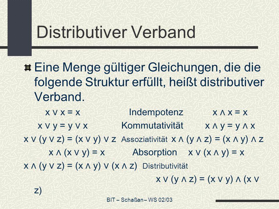 BIT – Schaßan – WS 02/03 Distributiver Verband Eine Menge gültiger Gleichungen, die die folgende Struktur erfüllt, heißt distributiver Verband. x x =